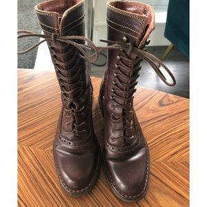 Pikolinos Brown Lace Up Leather Boots
